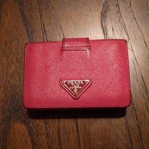 Prada pink saffiano leather accordion wallet